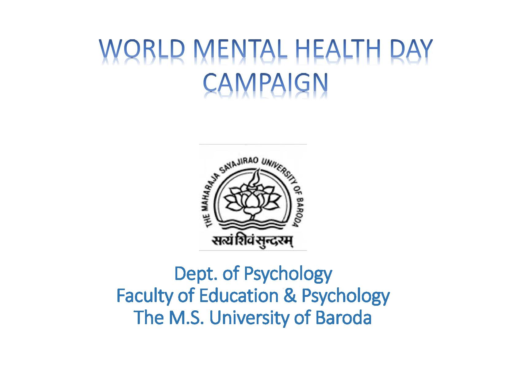 Mental Health Day 2015 MS University Of Baroda Page 001